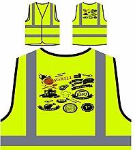 Neues Grill-Haus Personalisierte High Visibility Gelbe Sicherheitsjacke Weste l242v