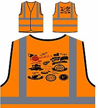 Neues Grill-Haus Personalisierte High Visibility Orange Sicherheitsjacke Weste l242vo