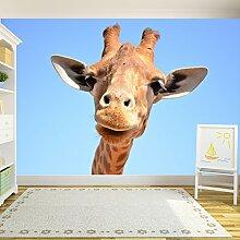 Neugierige Giraffe Wandbild Lustiges Tier Foto-Tapete Kinder Schlafzimmer Haus Dekor Erhältlich in 8 Größen Riesig Digital