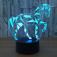 Neuheit 3d puzzle pferd illusion lampe 7 farbe