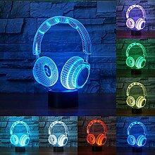 Neuheit bunte DJ-Kopfhörer Form 3D-Nachtlicht