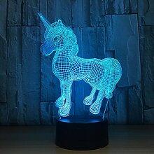 Neuheit Einhorn 3D Illusion Lampe Led Nachtlicht