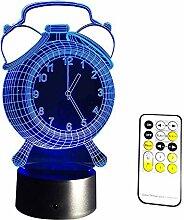 Neuheit Lampe, Uhrentyp 3D-Nachtlicht LED-Lampe