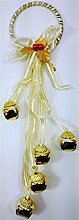 Neuheit Weihnachten Jingle Bell Gingham-Schleife Festive Home Tür Kleiderbügel hängende Dekoration Party Wand Fenster Geschenk Gold Door Hanger
