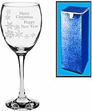 Neuheit Weinglas mit Gravur Frohe Weihnachten und ein glückliches neues Jahr Geschenk Schneeflocke