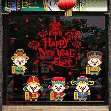 Neujahr Dekoration Glastür Aufkleber Fenster