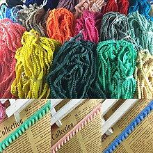 Neuware vom Importiert 2Yards/lot 1,2cm Pom Pom Trim Ball Fransen Ribbon DIY Nähen Zubehör Spitze Rainbow Farbe Handarbeit Stoff Supplies, dunkelblau, Leigth : 2 yards/lo