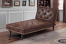New Antik Viktorianischer Stil Charles braun Kunstleder Wildleder Fold Down Bett Recamiere by Sleep Design