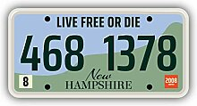 New Hampshire USA Retro Car Plate - Self-Adhesive