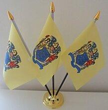New Jersey USA State 3Flagge Desktop Tisch mit Gold Boden