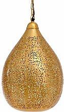 New Käufer Bazaar Marokkanische/Marrakesch handgefertigt Gold Anhänger Light, Ballon-in Reis-Ätzen Innen DeckenLeuchte Lampe, LED, E27, 40Watt, eisen