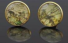 New Old World Map Manschettenknöpfe vergoldet Old Manschettenknöpfe Rund Glas Manschettenknöpfe für Männer Geschenk
