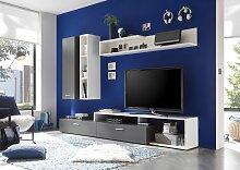 New Vision 4 Wohnwand Anbauwand Grau / Weiß
