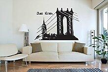 New York Brooklyn Bridge Empire groß Lounge gratis Rakel. Aufkleber Aufkleber Wandbild, Orange, Small - 59cm W x 43cm H