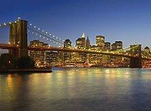 New York Brooklyn Bridge Skyline Foto-Tapete 4-teilig - Fototapete Wallpaper 232x315cm. Beigelegt sind eine Packung Kleber und eine Klebeanleitung.
