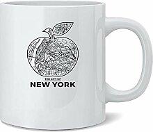 New York City Big Apple Retro Map Travel Ceramic
