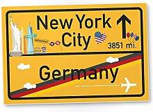 New York City Kunststoff Schild Gelb, Geschenk