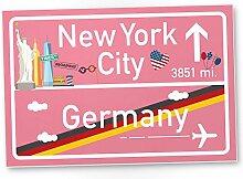 New York City Kunststoff Schild rosa, Geschenk