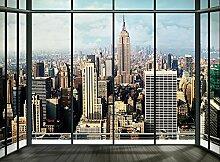 New York Skyline Fenster Foto-Tapete 4-teilig - Fototapete Wallpaper 232x315cm. Beigelegt sind eine Packung Kleber und eine Klebeanleitung.
