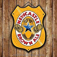 Newcastle Braun ALE. Newky. Bier Werbe Bar, Alte Pub Drink Pumpe Abzeichen Brewery Fass Fass Fassbier Real Ale Pint Alkohol Hops Form Metall/Stahl Wandschild - 27 x 20 cm