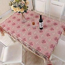 Newisher Vintage Tischdecke mit Spitze, bestickt,