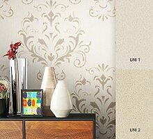 NEWROOM Barocktapete Tapete Beige Ornament Barock Vliestapete Vlies moderne Design Optik Barocktapete Wohnzimmer Glamour inkl. Tapezier Ratgeberer