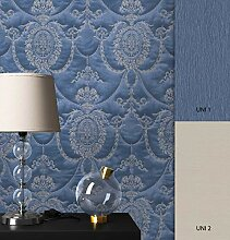 NEWROOM Barocktapete Tapete blau Ornament Prunk