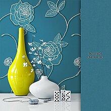 NEWROOM Blumentapete Tapete Blau Blumen Blätter