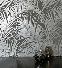 NEWROOM Blumentapete Tapete grau Blätter