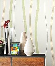 NEWROOM Blumentapete Tapete grün Streifen Linien