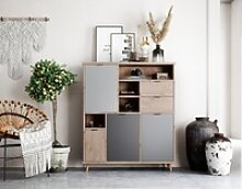 Newroom Highboard Conni, Highboard Eiche Hirnholz