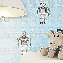 NEWROOM Kindertapete Blau Papiertapete Grau Kinder Roboter schöne moderne und edle Optik für Babys, Jungs oder Mädchen , inklusive Tapezier Ratgeber