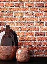 NEWROOM Steintapete Tapete Rot Platten Beton