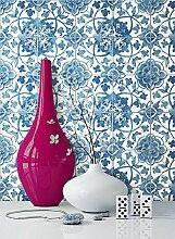 NEWROOM Tapete Blau Mauer Fliesen Modern