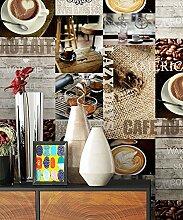 NEWROOM Tapete Braun Papiertapete Küche Kaffee schöne moderne und edle Design Optik , inklusive Tapezier Ratgeber