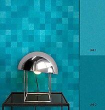 NEWROOM Tapete grafisch Blau Geometrisch Kästchen