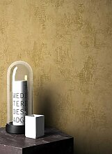 NEWROOM Tapete grafisch Gold Putz Beton Uni