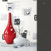 NEWROOM Tapete Grau Kaffee Sprüche Küche Vliestapete Schwarz Vlies moderne Design Optik Tapete inkl. Tapezier Ratgeber
