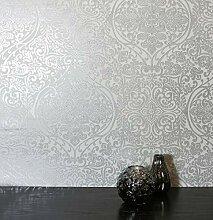 NEWROOM Tapete grau Ornament Glanz Barock