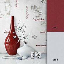 NEWROOM Tapete Grau Schrift Kaffee Küche Vliestapete Vlies moderne Design Optik Tapete Café inkl. Tapezier Ratgeber