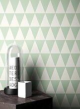 NEWROOM Tapete Grün Geometrisch Dreiecke Grafik