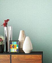 NEWROOM Tapete Grün Vliestapete Textil,Unis schöne moderne und edle Design Optik , inklusive Tapezier Ratgeber