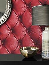 NEWROOM Tapete Rot Papiertapete Vintage Lederoptik schöne moderne und edle Design Optik , inklusive Tapezier Ratgeber