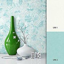 NEWROOM Tapete Türkis Vliestapete Muster Muster/Motiv schöne moderne und edle Design Optik , inklusive Tapezier Ratgeber