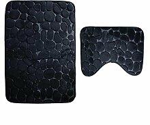 NEWSTARTS 2 teile / satz hausware Teppich Bad U Form Cobble Stein Muster Weichen, Saugfähigen rutschfeste Memory Foam Pad Badezimmer Wc-matte Anti-bakterien Pad Teppich Schönheit Teppiche (schwarz)