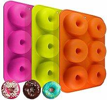 Newthinking 3 Pack Silikon Donut Formen, 6 Mulden