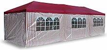 Nexos PE-Pavillon Partyzelt mit 6 Seitenteilen und 2 Eingängen für Garten Terrasse Feier oder Fest als Unterstand Plane 110g/m² wasserdicht 3 x 9 m ro