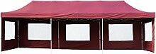 Nexos PROFI Falt-Pavillon Partyzelt 3 x 9 m burgund mit Seitenteilen hochwertige Ausführung für Garten Terrasse Feier Markt als Unterstand Plane wasserdichtes Dach mit PVC-coating 270 g/m² incl. Tragetasche und Zubehör