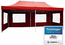 Nexos PROFI Faltpavillon Partyzelt Pavillon rot 3x6 m mit Seitenteilen hochwertige Ausführung für Garten Terrasse Feier Markt als Unterstand Plane wasserdichtes Dach mit PVC-coating 270 g/m² incl. Tragetasche und Zubehör