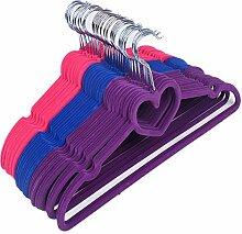 NHSUNRAY Plastic Love Herz Samt Flocked Kleiderbügel für Stoff Hose Krawatte Gürtel Schal, dünn und rutschfest Pack von 30 (Multicolor)